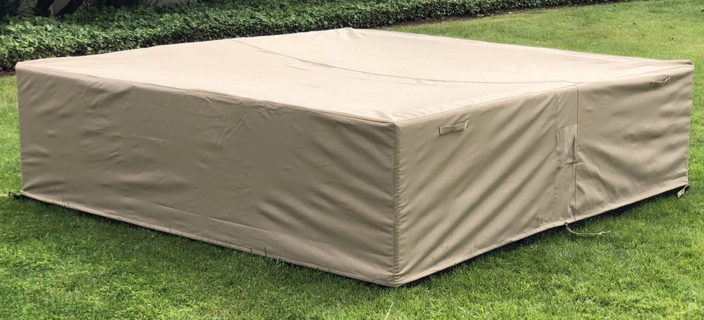 Outdoor Sectional Cover Square Large 98-98-27-Inches Beige Rainproof