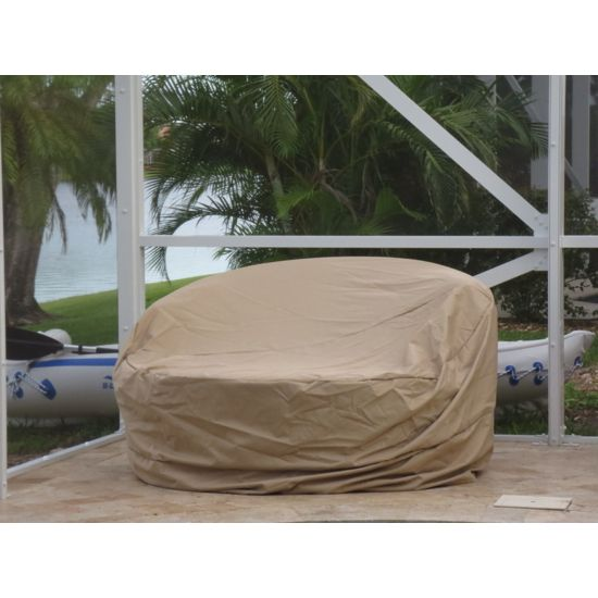 Patio Round Dining Cover Large 90-31.5-Inches Beige Rainproof