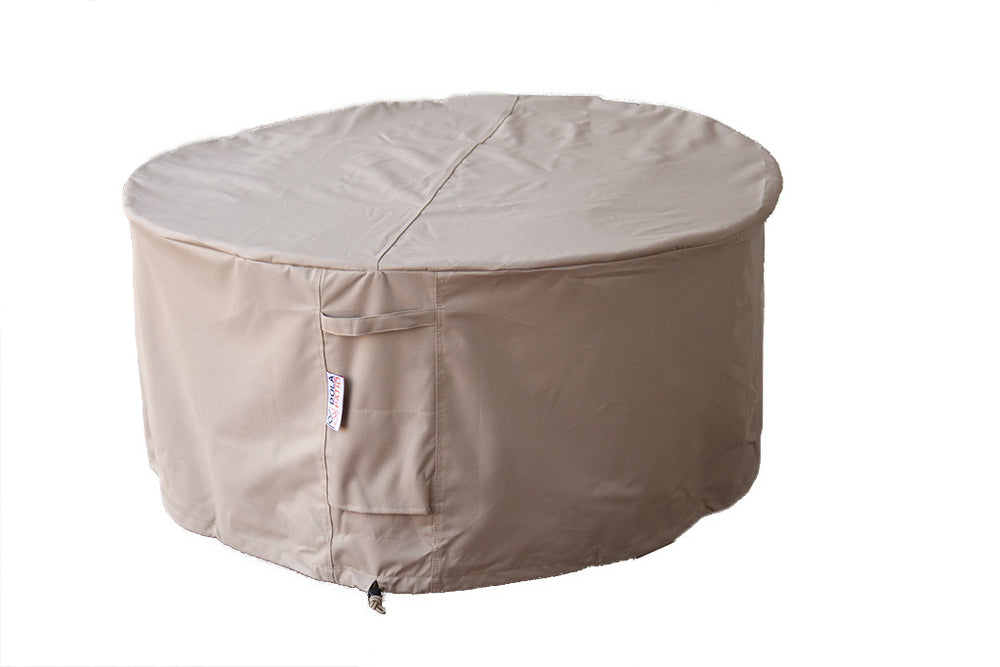 "Outdoor Fire Table Cover Round Waterproof 42.5"" x 20"" With Tightening Straps & Handles"