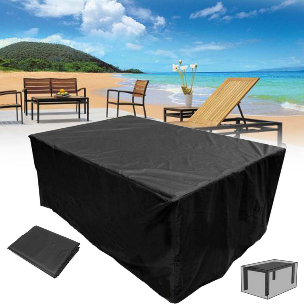 Outdoor Dining Table & chair Cover 125.98''x86.61''x27.56'' Waterproof Black