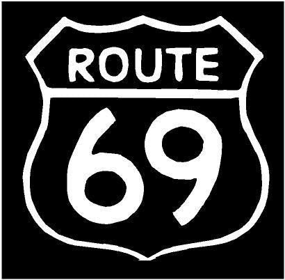 WHITE Vinyl Decal - Route 69 sign road