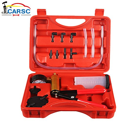 Hand Held Vacuum Pump Tester Set Vacuum Gauge and Brake Bleeder Kit for Automotive with Adapters, Case