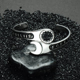 Titanium Stainless Steel Mechanic Wrench Cuff Bangle for Men Jewelry