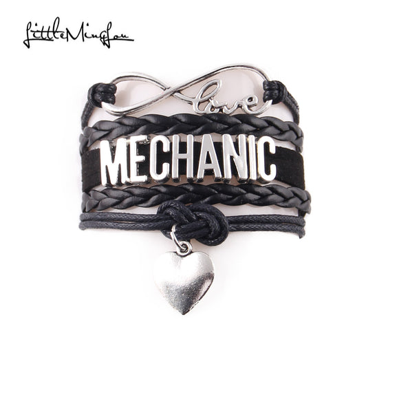 Little Ming Lou Infinity love Mechanic Bracelet heart charm leather wrap