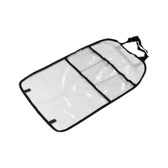 Waterproof Car Seat Back Cover Protector Organizer Storage Bag Transparent Kick Mat for Kids 15*24