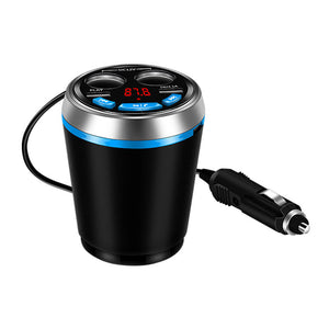 Multifunction Car Cup Holder Kit Bluetooth FM Transmitter + Cigarette Lighter Socket + Dual USB Charger Adapter Support U Disk Reading Hands-free Call 12-24V - Hammond Auto