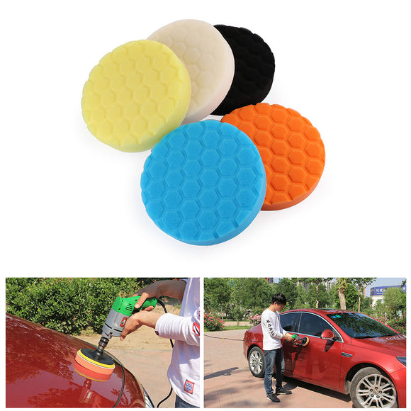 5PCS 7 Inch Buffing Sponge HEX Polishing Pad