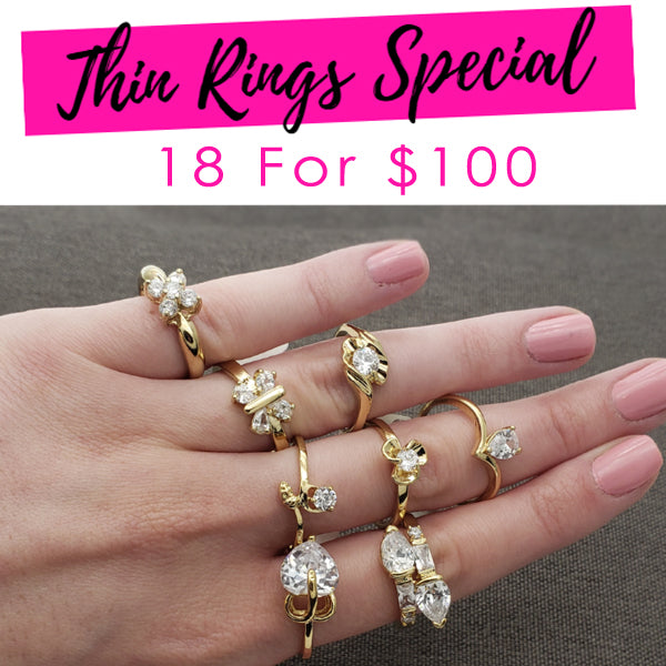 18 Medium CZ Rings ($5.55 ea) Assorted Mixed Styles and Mix Sizes Gold Layered