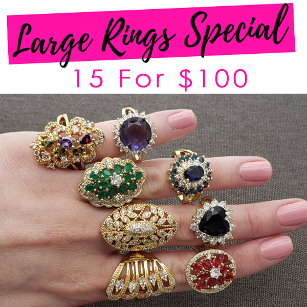 15 Large CZ Rings ($6.60 ea) Assorted Mixed Styles and Mix Sizes Gold Layered