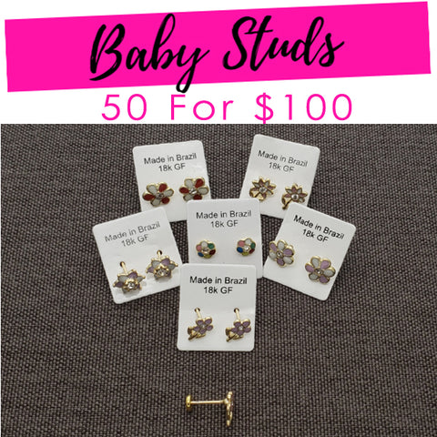 50 Baby Studs ($2.00ea) Assorted Mixed Styles Gold Layered