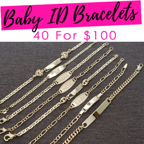 40 Baby ID ($2.50ea) Bracelets Assorted Mixed Styles Gold Layered