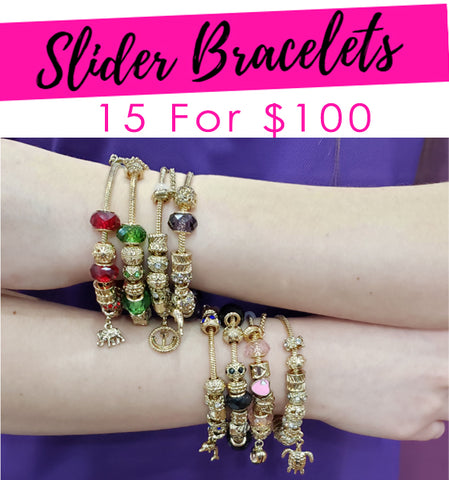 15 Slider Bracelets Assorted Mixed Styles Gold Layered