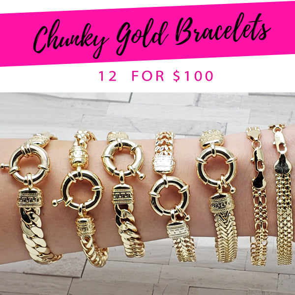 12 Chunky Gold Bracelets ($8.33 each) for $100 Gold Layered