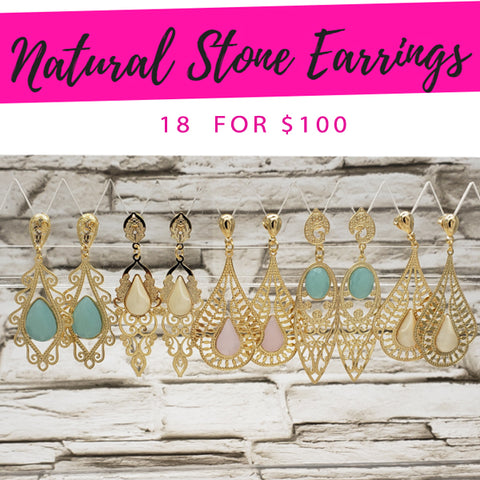 18 Natural Stone Earrings  ($5.55 ea) for $100