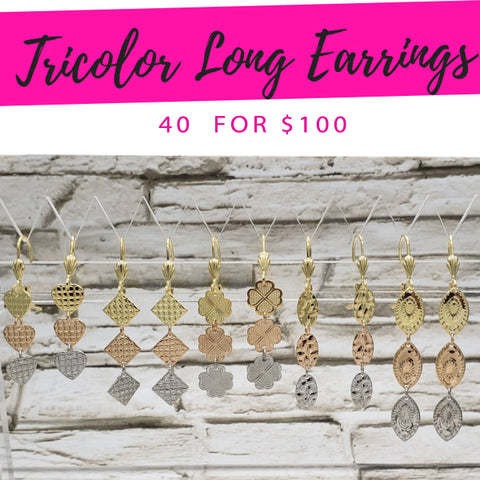 40 Tricolor Long Earrings  ($2.50 ea) for $100
