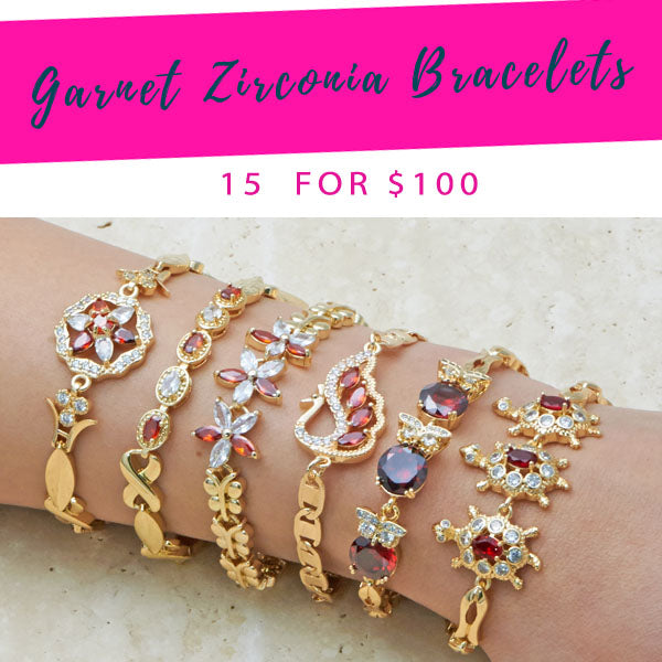 15 Red Garnet Zirconia Bracelets ($6.67 each) for $100 Gold Layered