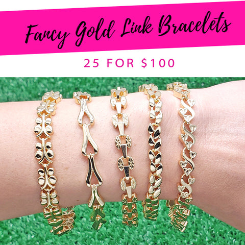 25 Fancy Gold Link Bracelets ($4.00 each) for $100 Gold Layered