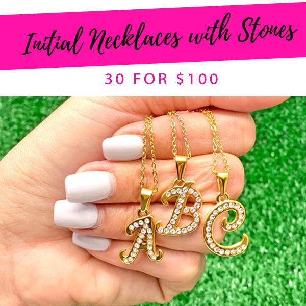 30 Initial Necklace with Stones ($3.33 each) for $100 Gold Layered