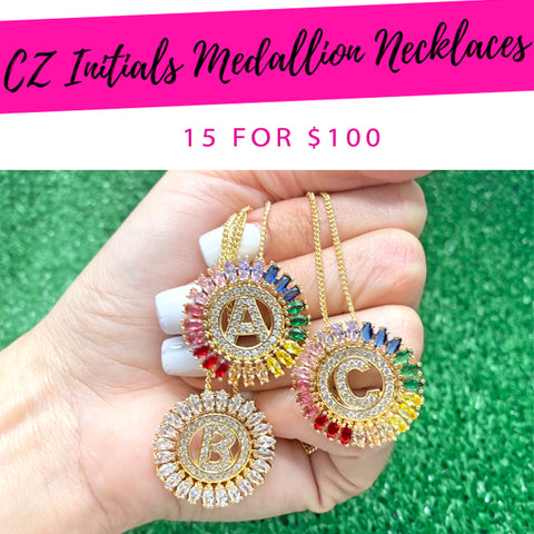 15 CZ Initials Medallion Necklaces ($6.67 each) for $100