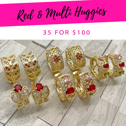 35 Red & Multi Huggies ($2.86 each) for $100