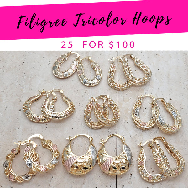 25 Filigree Tricolor Hoops ($4.00 each) for $100 Gold Layered