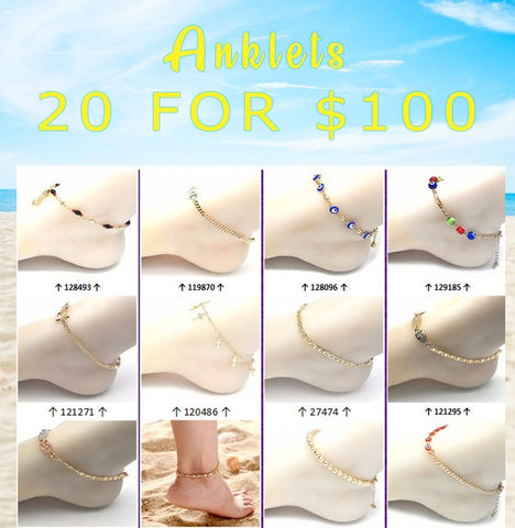 20 Gold Layered Anklets Assorted ($5.00)ea Assorted Mixed Styles