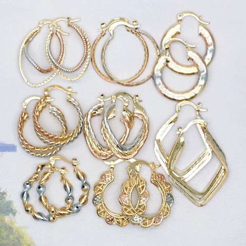 30 Medium Gold Filled Tricolor Hoops Bundle Kit ($3.33 ea) Assorted Mixed Styles