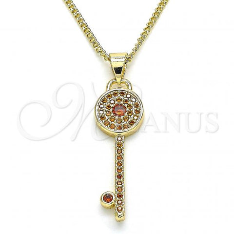 Gold Layered 04.344.0007.1.20 Pendant Necklace, key Design, with Garnet Micro Pave, Polished Finish, Golden Tone