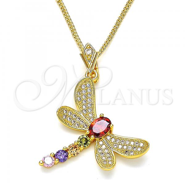 Gold Layered 04.283.0001.20 Pendant Necklace, Dragon-Fly Design, with Multicolor Cubic Zirconia and White Micro Pave, Polished Finish, Golden Tone