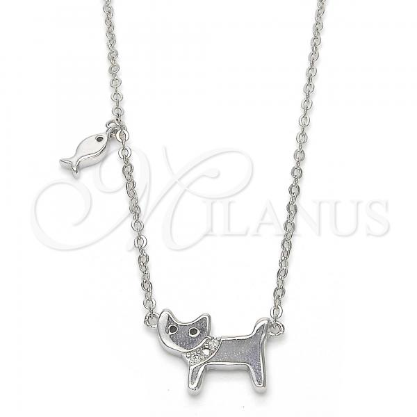 Sterling Silver 04.336.0017.16 Fancy Necklace, Cat and Fish Design, with White Micro Pave, Polished Finish, Rhodium Tone