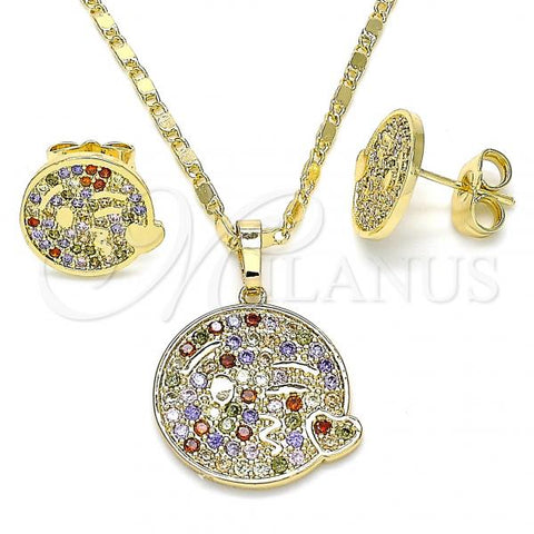Gold Layered 10.316.0060.1 Earring and Pendant Adult Set, Heart Design, with Multicolor Micro Pave, Polished Finish, Golden Tone