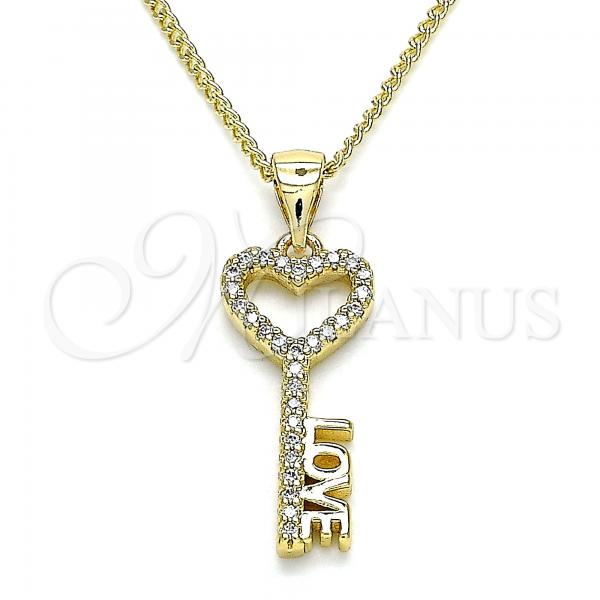 Gold Layered 04.342.0014.20 Pendant Necklace, key and Love Design, with White Micro Pave, Polished Finish, Golden Tone