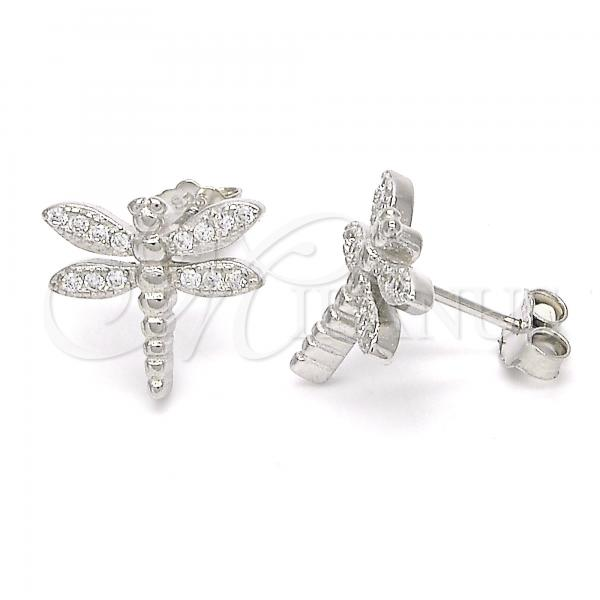 Sterling Silver 02.336.0043 Stud Earring, Dragon-Fly Design, with White Micro Pave, Polished Finish, Rhodium Tone