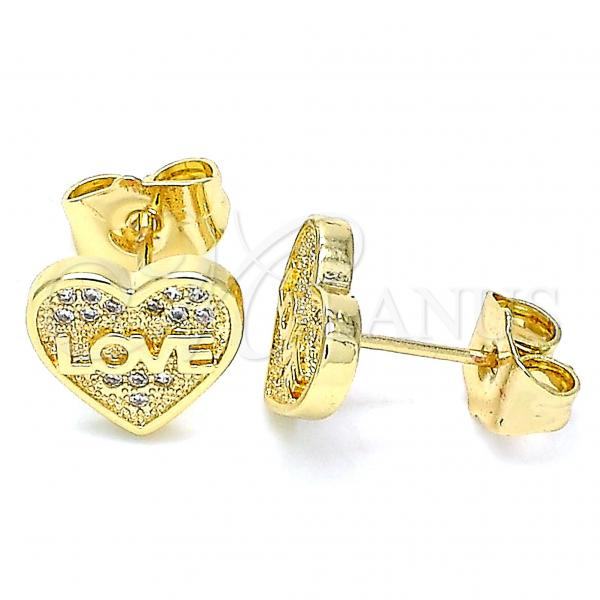 Gold Layered 02.156.0504 Stud Earring, Heart and Love Design, with White Micro Pave, Polished Finish, Golden Tone