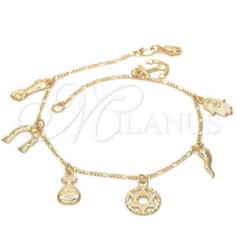 Gold Layered 03.32.0092.10 Charm Anklet , Anchor and Star of David Design, Polished Finish, Golden Tone