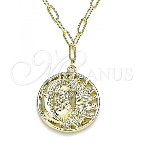 Gold Layered 04.60.0017.18 Pendant Necklace, Moon and Sun Design, with White Micro Pave, Polished Finish, Golden Tone