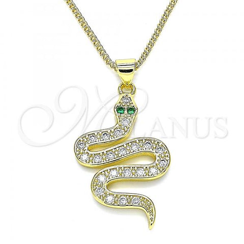 Gold Layered 04.368.0009.20 Pendant Necklace, Snake Design, with White and Green Micro Pave, Polished Finish, Golden Tone
