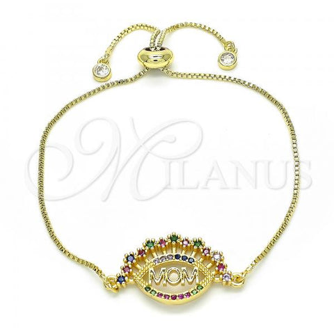 Gold Layered 03.368.0002.10 Fancy Bracelet, Mom Design, with Multicolor Cubic Zirconia, Polished Finish, Golden Tone