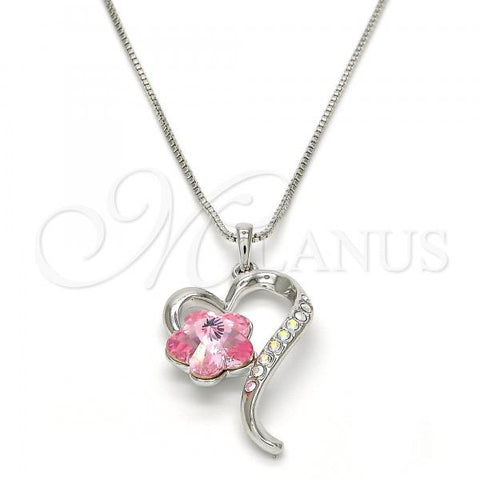 Rhodium Plated Pendant Necklace, Heart and Flower Design, with Swarovski Crystals, Rhodium Tone