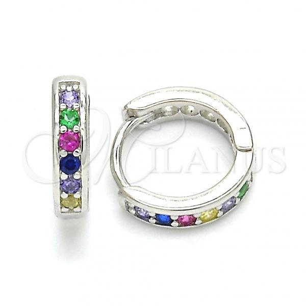 Sterling Silver 02.332.0053.12 Huggie Hoop, with Multicolor Cubic Zirconia, Polished Finish, Rhodium Tone