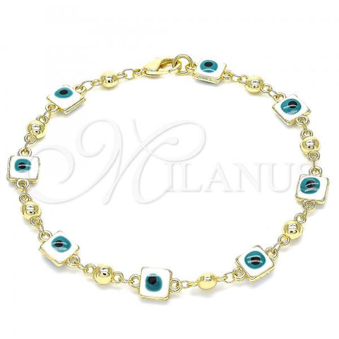 Gold Layered 03.213.0097.08 Fancy Bracelet, Greek Eye Design, White Enamel Finish, Golden Tone