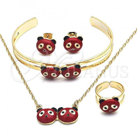 Gold Layered 06.65.0147 Earring and Pendant Children Set, Red Enamel Finish, Golden Tone