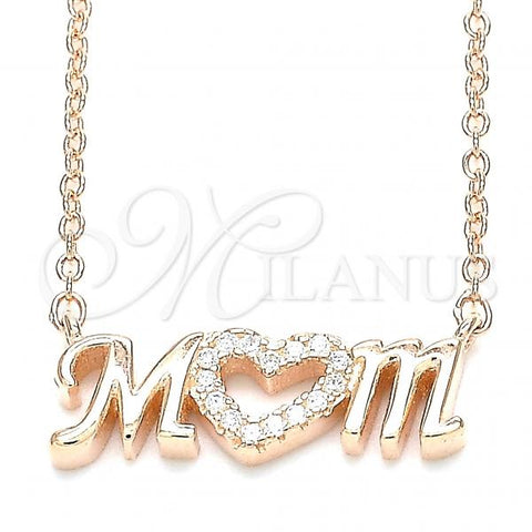 Sterling Silver 04.336.0212.1.16 Pendant Necklace, Mom and Heart Design, with White Cubic Zirconia, Polished Finish, Rose Gold Tone