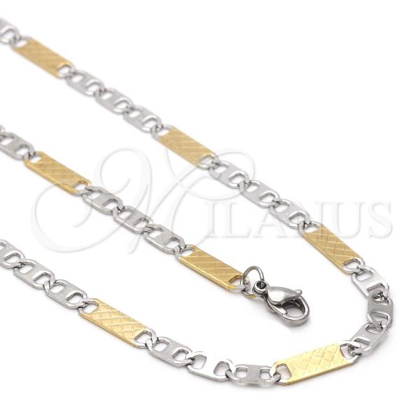 Stainless Steel 04.113.0053.24 Necklace and Bracelet, Mariner Design, Two Tone