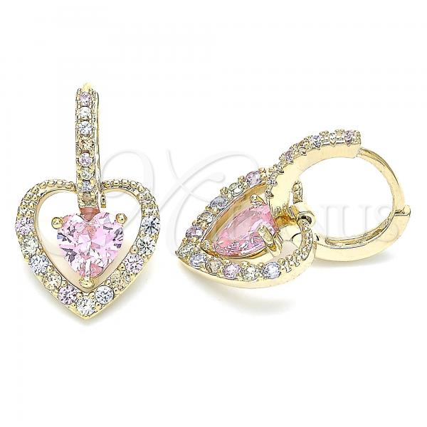 Gold Layered 02.65.2660 Dangle Earring, Heart Design, with Pink and Multicolor Cubic Zirconia, Polished Finish, Golden Tone