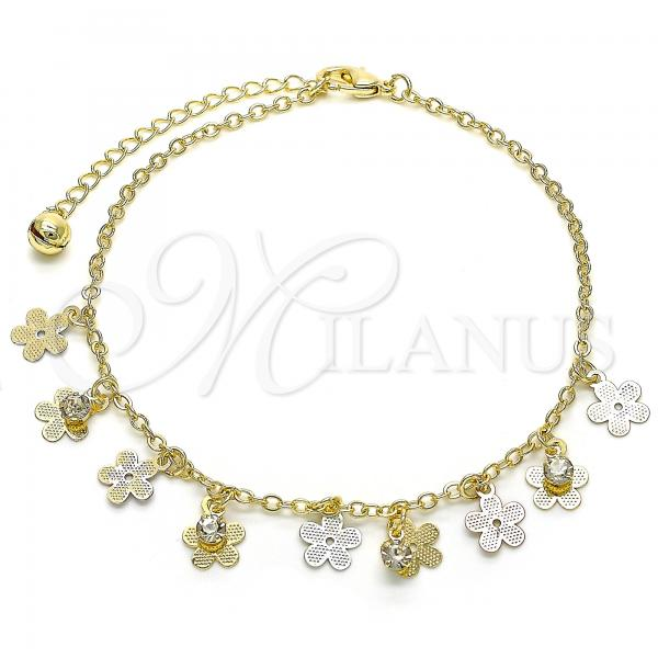 Gold Layered 03.331.0037.10 Charm Anklet , Flower and Rattle Charm Design, with White Crystal, Polished Finish, Tri Tone