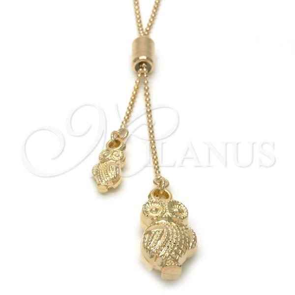 Gold Layered 04.32.0010.2.28 Fancy Necklace, Owl Design, Polished Finish, Golden Tone