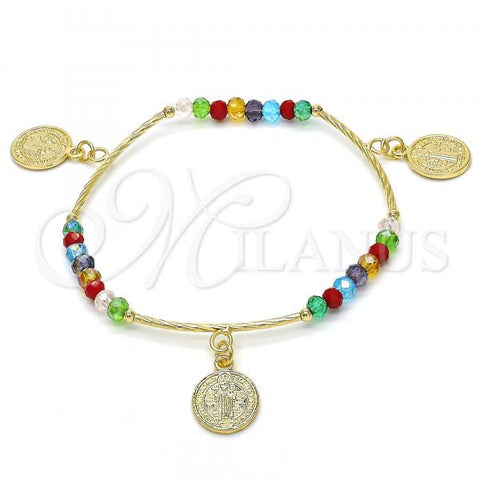 Gold Layered 03.351.0018.07 Charm Bracelet, San Benito Design, with Multicolor Crystal, Polished Finish, Golden Tone