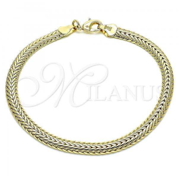 Gold Layered 03.213.0094.08 Basic Bracelet, Rat Tail Design, Polished Finish, Golden Tone