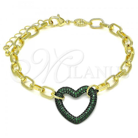 Gold Layered 03.341.0054.4.07 Fancy Bracelet, Paperclip and Heart Design, with Green Micro Pave, Polished Finish, Black Rhodium Tone